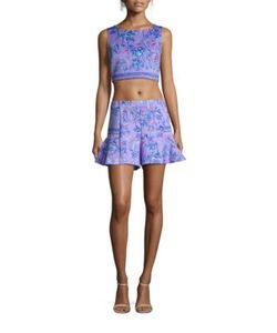 Lilly Pulitzer   Two-Piece Neri Printed Scuba Ponte Cropped Top Shorts Set