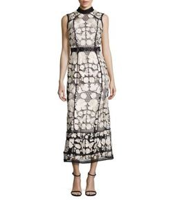 Marchesa Notte | Two-Tone Embroide Lace Dress