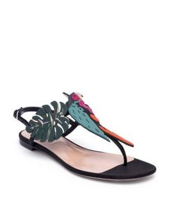 Valentino | Tropical Dream Leather Suede Thong Sandals