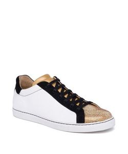 Rene Caovilla | Crystal-Embellished Leather Suede Low-Top Sneakers