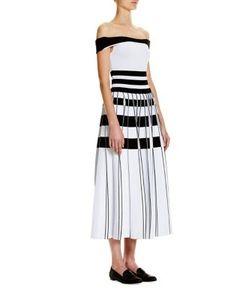 Carolina Herrera   Striped Off-The-Shoulder Dress