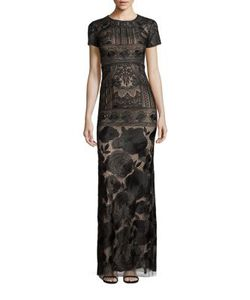 Marchesa Notte | Embroide Overlay Gown