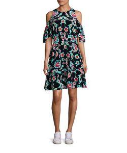 Tanya Taylor | Shiloh Silk Cold-Shoulder Dress