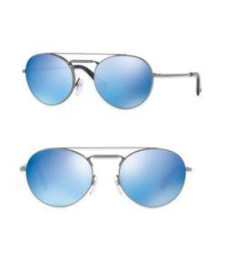Valentino | Glamtech 51mm Mirro Round Aviator Sunglasses