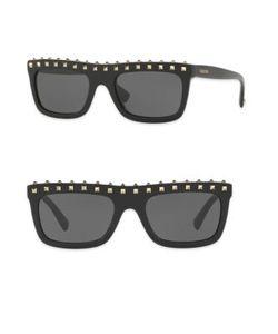 Valentino | Soul Rockstud 51mm Flat-Top Rectangle Sunglasses