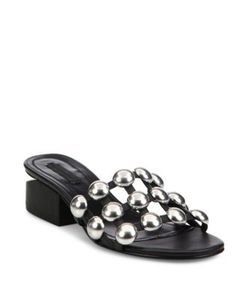 Alexander Wang | Lou Tilt-Heel Studded Leather Slides