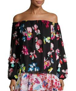 Tanya Taylor | Tessa Embroide Tassel Silk Off-The-Shoulder Top
