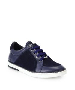 Jimmy Choo | Sydney Suede Leather Lace-Up Sneakers
