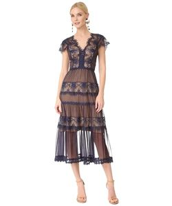 Catherine Deane | Кружевное Платье Gwyneth С Короткими Рукавами
