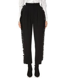 Rodarte | Wool Trousers With Leather Ruffle