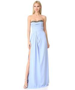 Marchesa Notte | Вечернее Платье Без Бретелек Из Крепа