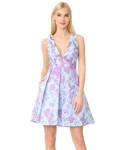 Marchesa Notte | Металлизированное Платье С Цветочным Рисунком И V-Образным Вырезом