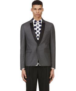 Kris Van Assche | Grey Wool Diamond Pinstripe Blazer