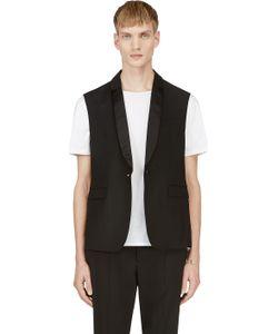 Kris Van Assche | Black Sleeveless Tuxedo Vest