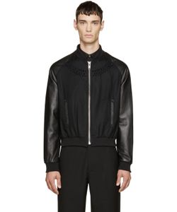 99 Is | 99 Is Wool And Leather Embellished Bomber Jacket