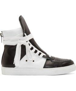 Kris Van Assche | Black And White Leather High-Top Sneakers