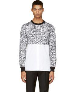 Kris Van Assche | Ssense Exclusive Black And White Chevron Hybrid Shirt