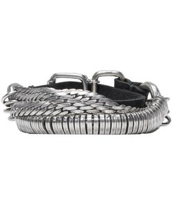 Goti | Silver And Leather Twisted Chain Bracelet