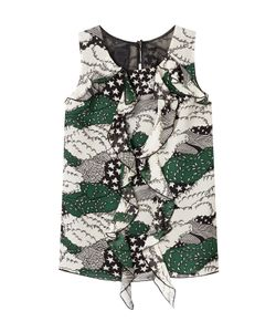 Anna Sui | Printed Silk Shell With Ruffled Front Gr. Us 2