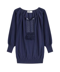 Claudia Schiffer for TSE   Knit Cotton Top With Tassels Gr. S