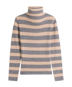 81 Hours by Dear Cashmere | Striped Cashmere Turtleneck Pullover Gr. S
