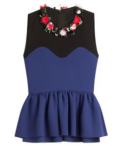 MSGM | Flower Embellished Wool Top With Peplum Gr. It 38