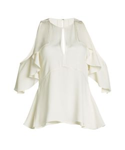 Theory | Ruffled Silk Crepe Top With Cut-Out Shoulders Gr. S
