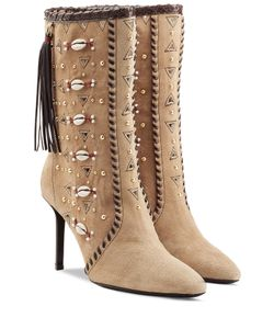 Tamara Mellon | Embellished Bohemia Suede Boots Gr. It 36