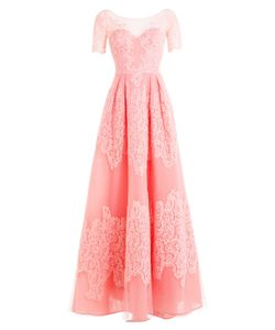 Zuhair Murad | Floor Length Silk Blend Gown With Lace And Point Desprit Gr.
