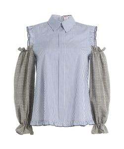 Sandy Liang   Printed Cotton Blouse With Cut-Out Shoulders Gr. Fr 36