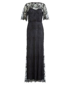 Catherine Deane | Floor Length Dress With Embellished Lace Overlay Top Gr. Uk 16