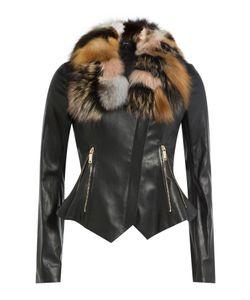 Jitrois | Leather Jacket With Fox Fur Gr. Fr 36