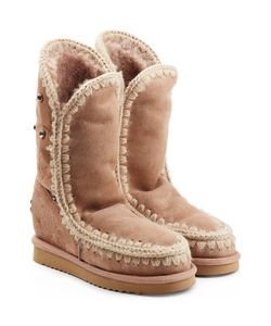 Mou | Eskimo Wedge Tall Sheepskin Boots With Embroidery Gr. Eu 37