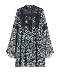 Anna Sui | Printed Silk Dress With Lace Panels Gr. Us 2