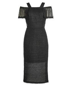 Roland Mouret | Linen Dress With Off-Shoulder Straps Gr. Uk 10