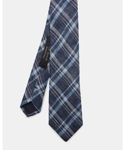 Ted Baker | Checked Linen And Silk-Blend Tie Navy