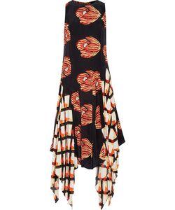 Suno   Asymmetric Ruffled Printed Washed-Silk Midi Dress