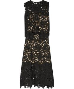 Catherine Deane | Ennis Faux Leather-Trimmed Lace Midi Dress