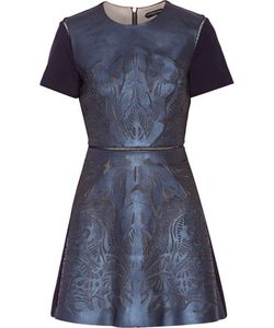 Catherine Deane | Laser-Cut Leather Mesh And Ponte Mini Dress