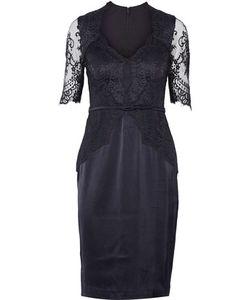 Catherine Deane | Belted Lace-Paneled Satin Dress