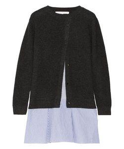 Thakoon Addition | Addition Layered Waffle-Knit And Striped Poplin Mini Dress