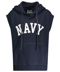 Nlst | Navy Cotton-Blend Hooded Top