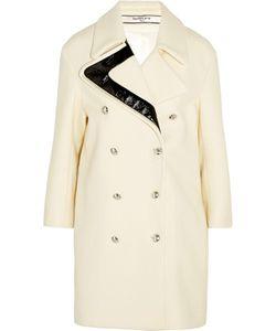 Bouchra Jarrar | Faux Patent Leather-Trimmed Wool Coat