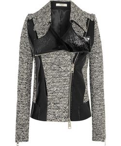 Bouchra Jarrar | Wool-Blend Tweed And Faux Patent-Leather Jacket