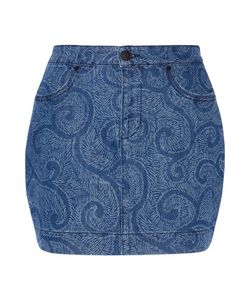 Sibling | Printed Denim Mini Skirt