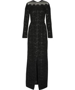 J. Mendel   J Mendel Organza-Trimmed Cotton-Blend Corded Lace Gown