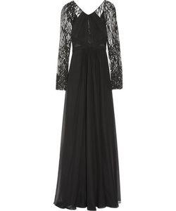 J. Mendel   J Mendel Cotton-Blend Lace And Silk-Chiffon Gown