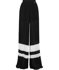 Just Cavalli | Striped Plissé-Georgette Wide-Leg Pants