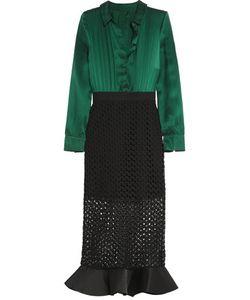 Self-Portrait | Ruffled Washed-Silk And Guipure Lace Midi Dress