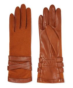 Agnelle | Wool-Blend And Leather Gloves